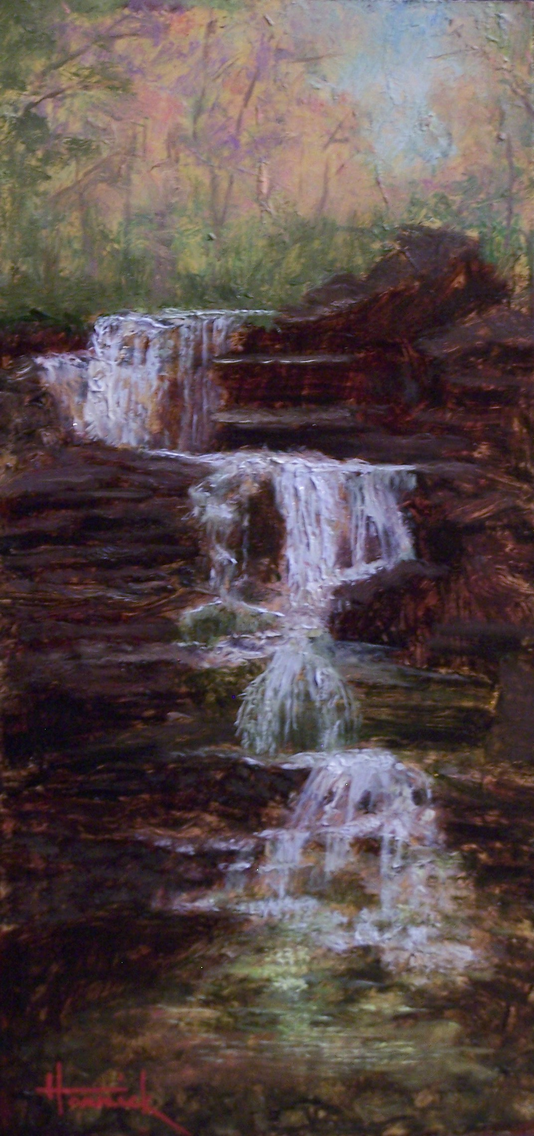 Enfield Falls (Oil on Gilded Panel 8x4)