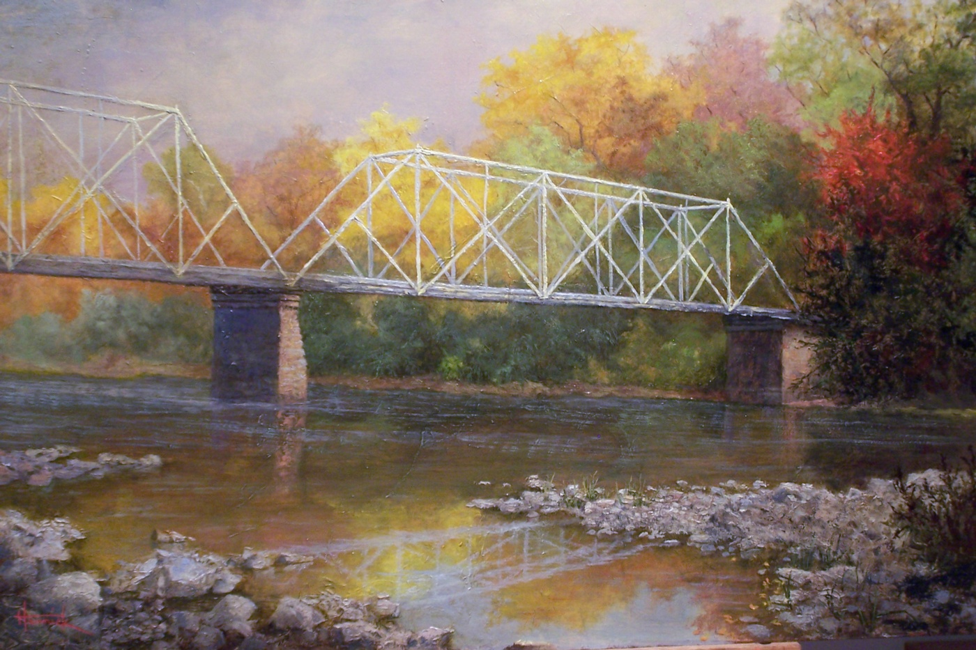 Dingman's Bridge (Oil on Gilded Panel 15x23)