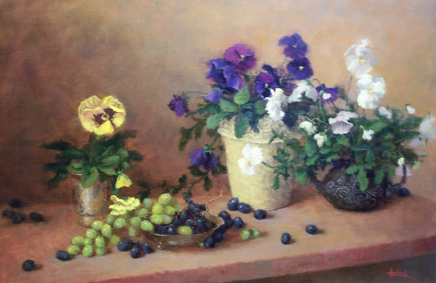 Pansies and Grapes (oil on linen 15x22)