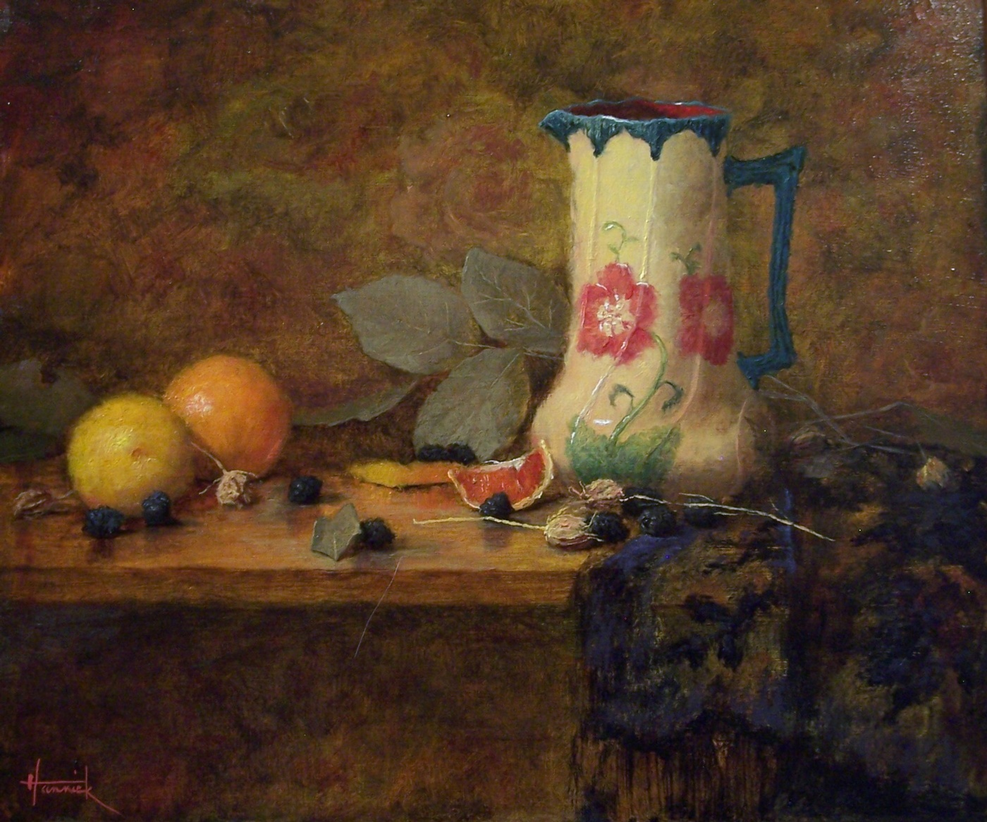 Still Life with Pitcher and Blood Oranges (Oil on Board 12x14)