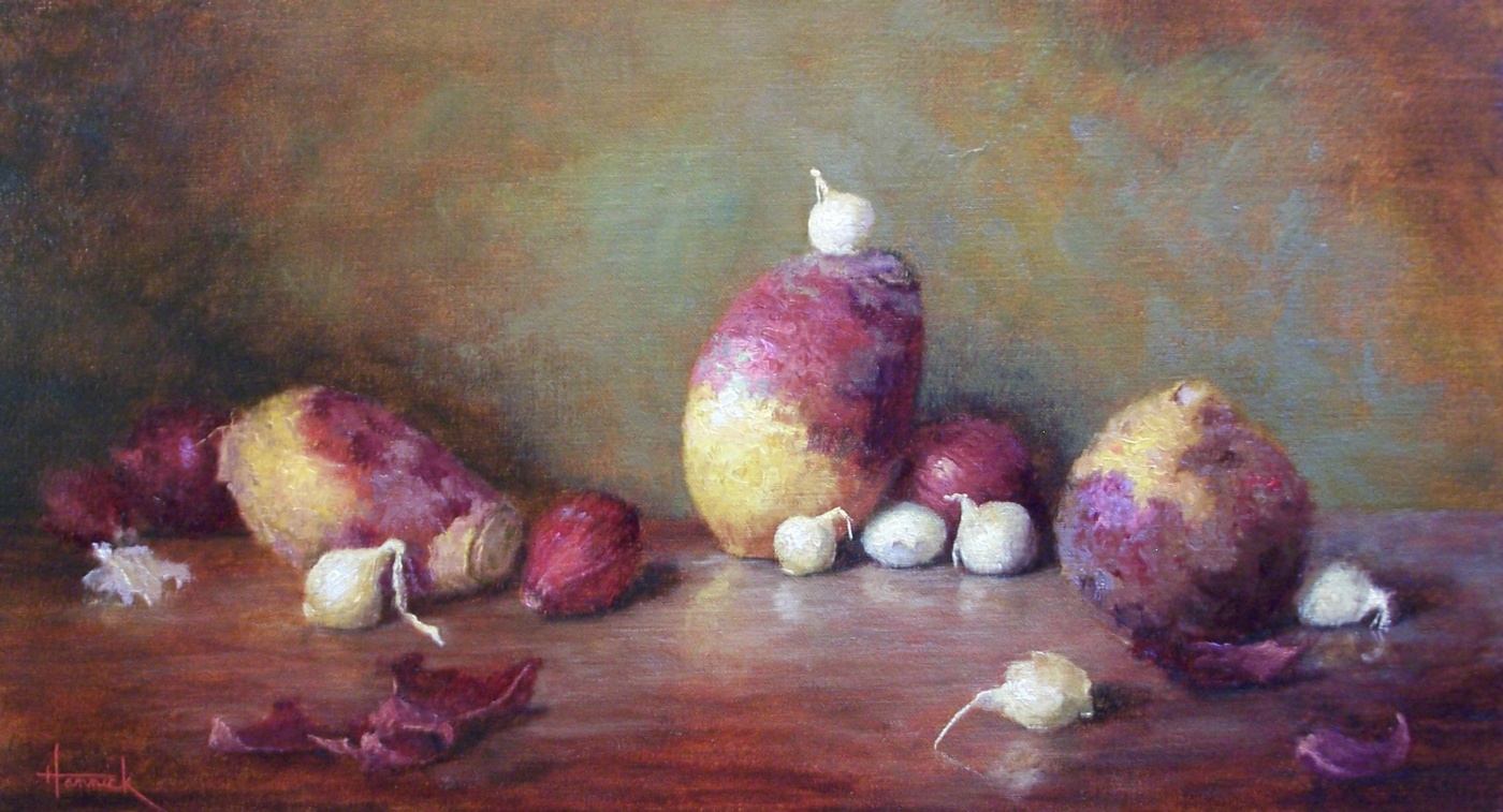 Rutabagas with Pearl Onions (oil on linen 10x18)