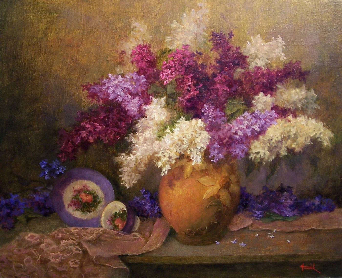 Tri-Color Lilacs (Oil on Linen 16x20)<br>